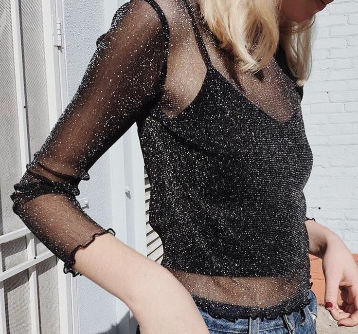 See through glitter top and jeans for the holidays