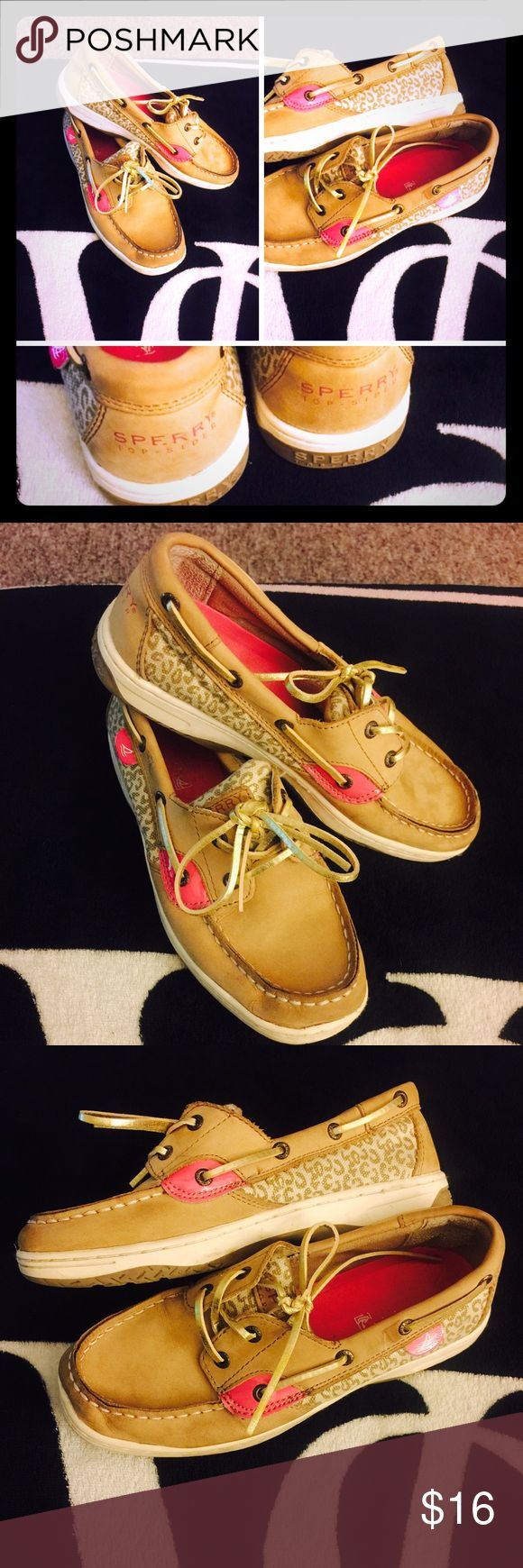 Hot Pink Leopard Print Sperrys Super cute Sperrys with leopard print on the sides with hot pink and gold detailing! Some slight discoloration but I'm sure can be clean. You see it on the toes in 2nd pic! Still in good condition! Sperry Top-Sider Shoes