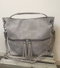 Eleganci grijs kleurige  tas met dubbele rits en veel vakjes