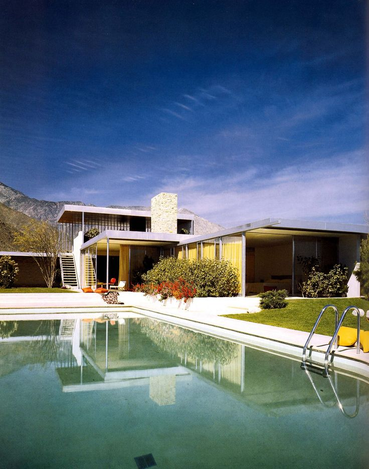 Richard Neutra used international style for this midcentury home where glass, steel and stone were infused into the design.