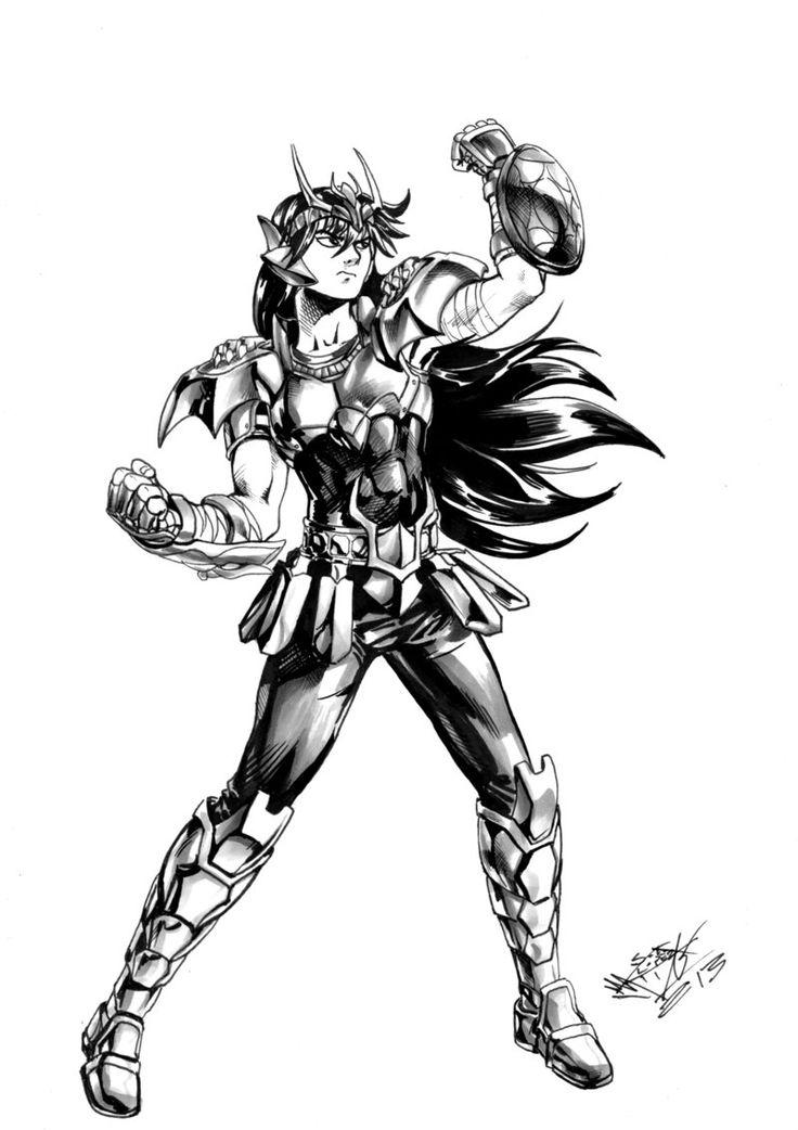 Shiryu coloriage les chevaliers du zodiaque zodiac et sketches - Chevalier du zodiaque dessin ...