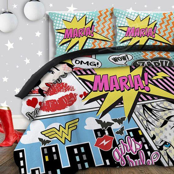 Girls Superhero Bedding Comic Book Bedding Superhero Comforter