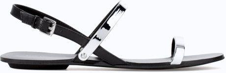 Zara Silver Flat Sandals with Metallic Straps