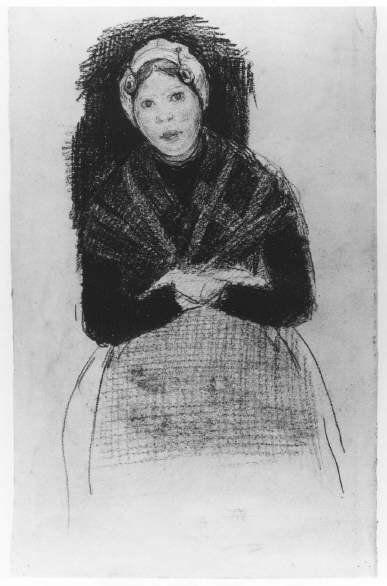 Scheveningse dracht. Scheveningse vissersvrouw, zittend op een stoel, draagt een muts met boeken, koralen ketting, geruite omslagdoek, jak en rok met schort. 1900 JA de Jonge; oliekrijt #ZuidHolland #Scheveningen