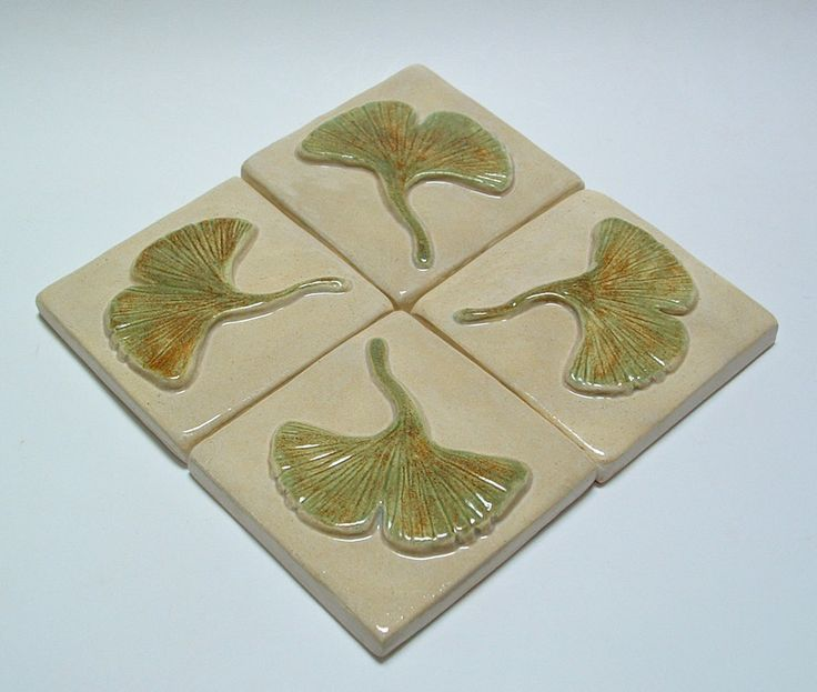 Gingko/Ginkgo tiles set of 4 Arts and Crafts tile, Kitchen back-splash Focal Point by FayJonesDayTile on Etsy