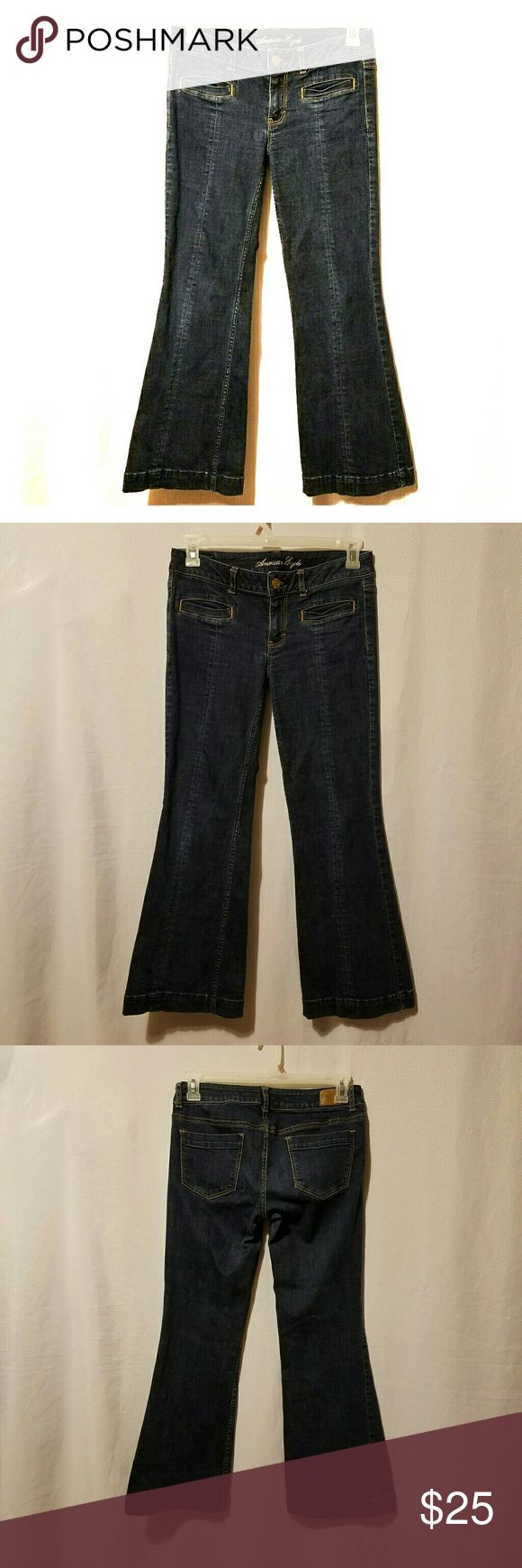 "American Eagle Trouser Jeans.( short) American eagle trouser jeans.Size 8 Inseam 29"" and rise 7.5.darkwash.used.Good condition.Make me an offer. American Eagle Outfitters Jeans Flare & Wide Leg"