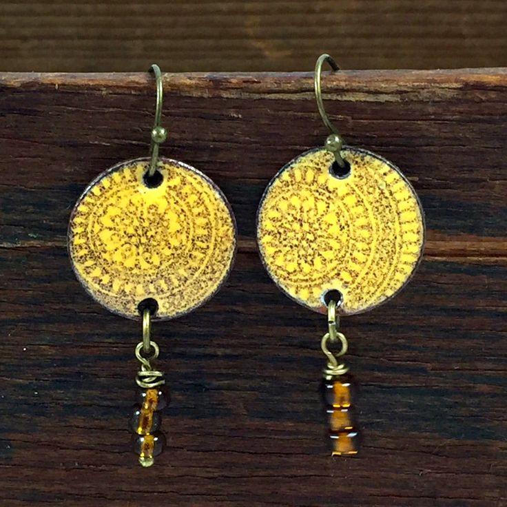 Boho Indie Style Earrings, Torch Fired Enamel Jewelry, Tribal Style Jewelry, Penny Earrings, Dangle Style Yellow and Brown Earrings by kyleemaedesigns on Etsy