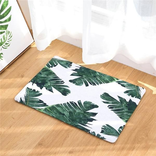 Tropical Floor Mats Tropical Bathroom Rugs Leaf Decor Tropical Leaf Print
