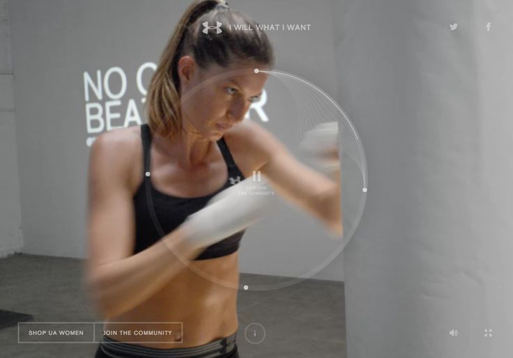 http://gisele.underarmour.com/  Gisele Bündchen shows off her physical abilities at iwillwhatiwant.com/gisele, which streams real-time comments from social media.
