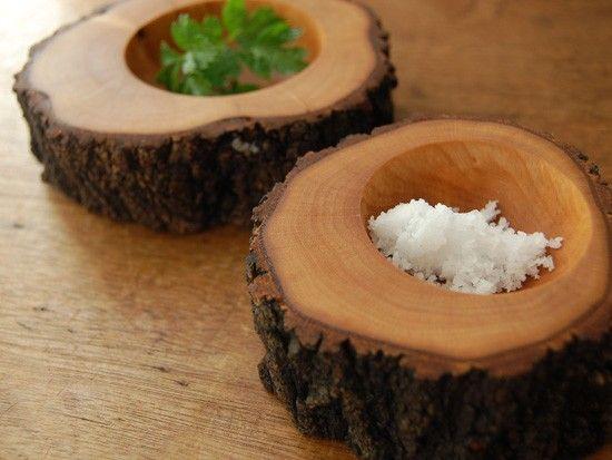wood log bowls