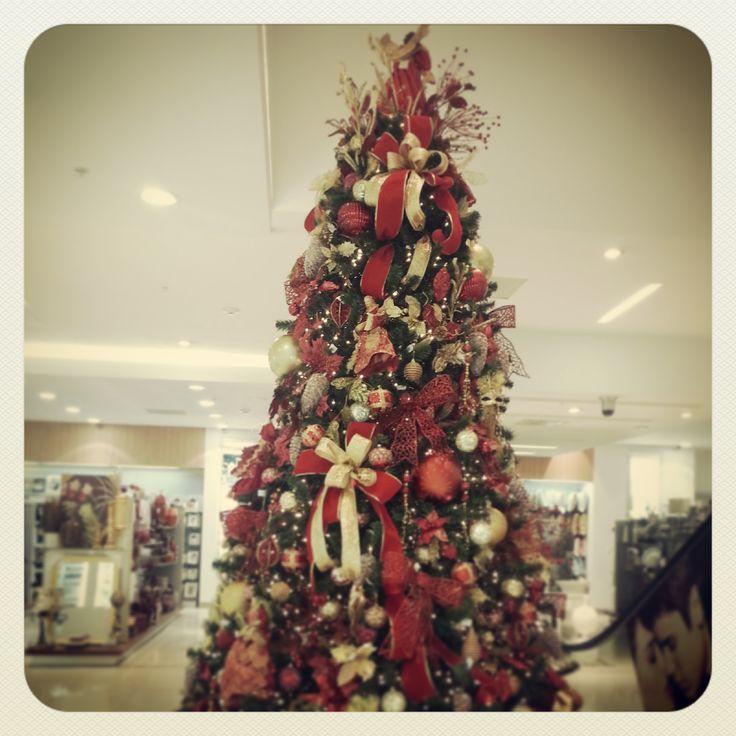 Navidadconarrocha arbol rojo y dorado sucursal - Arbol de navidad dorado ...