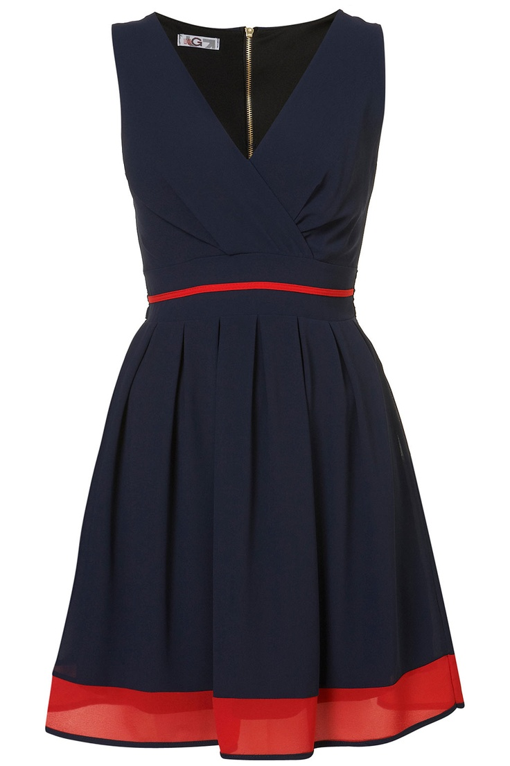 Navy blue sleeveless with red hem