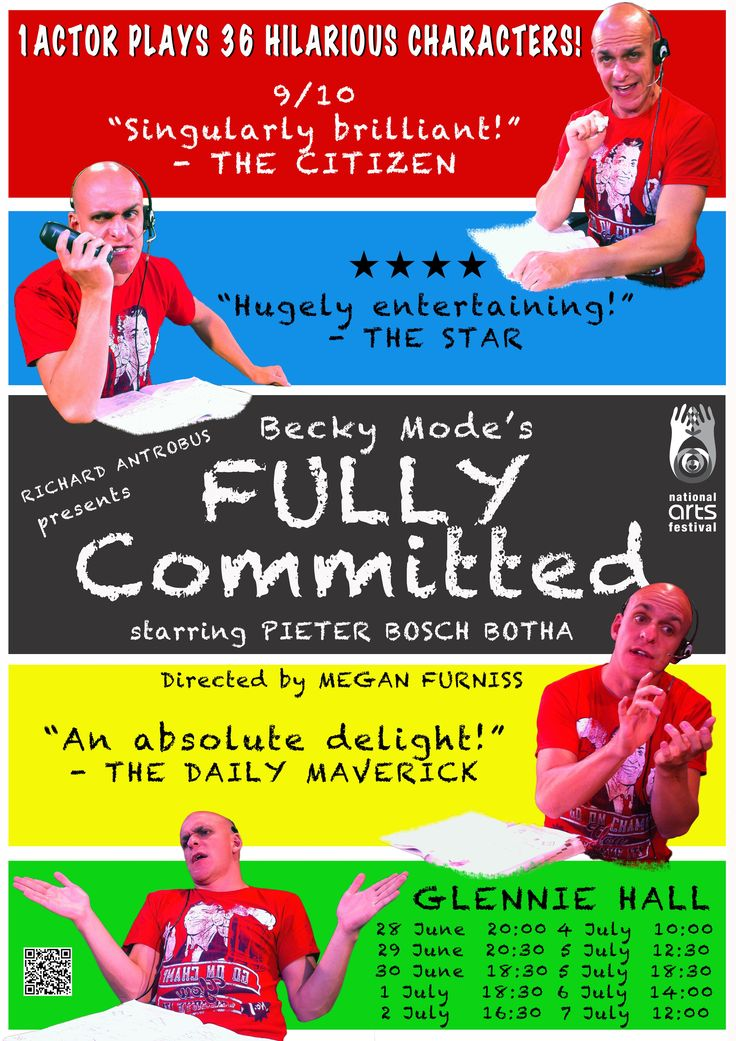Our poster! Book tickets here: http://online.computicket.com/web/event/fully_committed/727298018/0/54194150