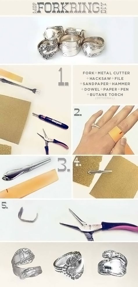 Creative DIY Fork Rings! - DIY & Crafts For Moms. Awesome women's fashion and jewelry project! - http://www.fb.com/diycraftsformoms