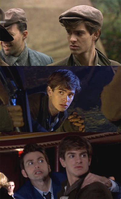 "Andrew Garfield (Spider-Man) in the Doctor Who episodes ""Daleks in Manhattan"" and ""Evolution of the Daleks""."