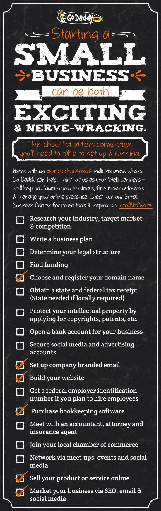 Small Business Checklist. Get your small business started today! #smallbiz http://go.me/BizCenter