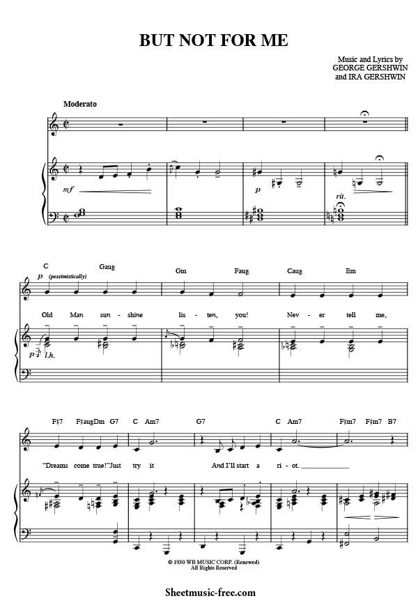 But Not For Me Sheet Music George Gershwin Download But Not For Me Piano Sheet Music Free PDF Download