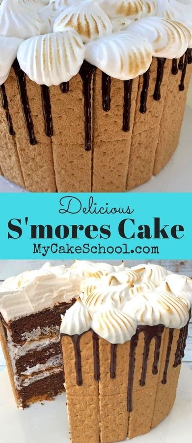 S'mores Cake Recipe by MyCakeSchool.com. Such a DELICIOUS combination of chocolate, graham crackers, and a marshmallowy frosting! Yum!