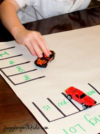 """Sight Word Game Kindergarten Lesson Plan… """"park your car on the word """"he""""""""."""