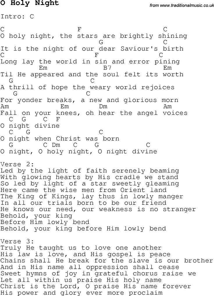 Christmas Songs and Carols, lyrics with chords for guitar banjo for O Holy Night