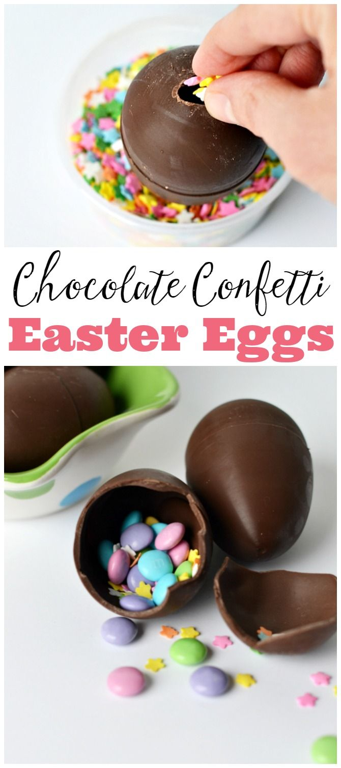 These chocolate confetti Easter eggs make such a fun Easter treat! Fill with a note, sprinkles, or little chocolates.