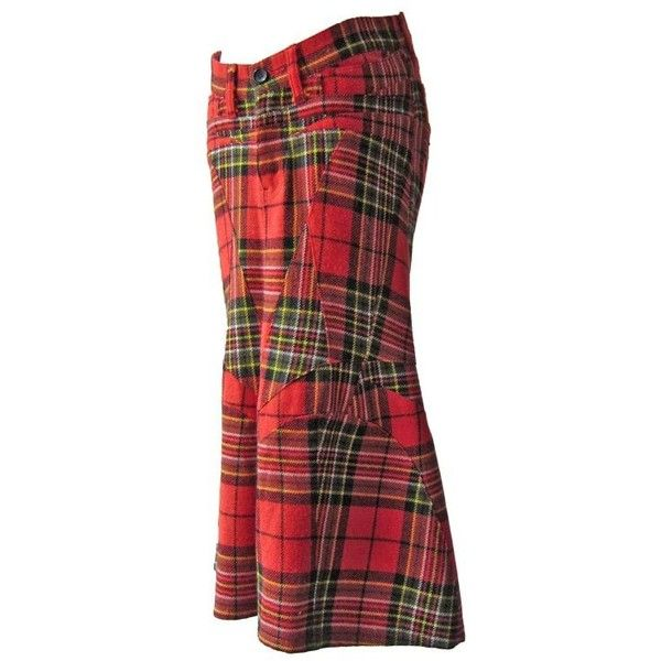 Preowned Comme Des Garcons Junya Watanabe Red Tartan Skirt Ad 2001 ($619) ❤ liked on Polyvore featuring skirts, pencil skirts, red, red pencil skirt, tartan plaid skirt, knee length pencil skirt, red tartan plaid skirt and red tartan skirts
