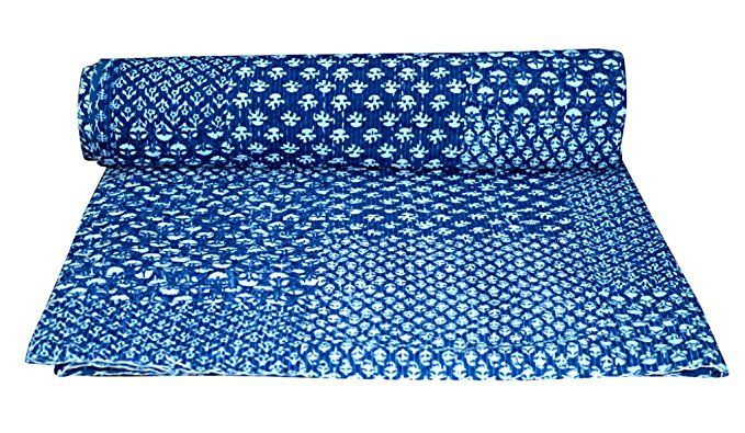 Indian Handmade Patchwork Twin Cotton Kantha Quilt Throw Blanket Gudari Vintage