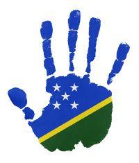 Handprints with Solomon Island  flag illustration
