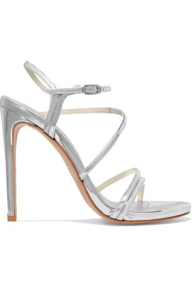 Heel measures approximately 110mm/ 4.5 inches Silver patent-leather Buckle-fastening ankle strap Designer color: Tin Made in Spain