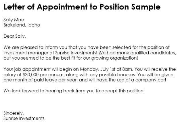 appointment letter template word and pdf format