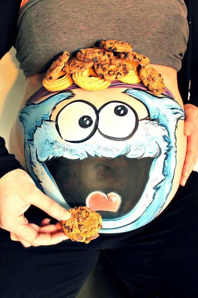 Pregnant Belly Cookie Monster Painting