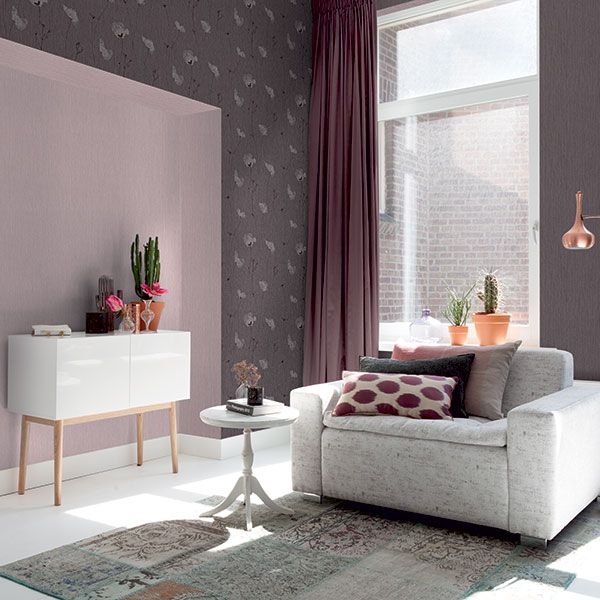Modern floral design wallpaper in warm tones looks great creating a modern cosy look- Amelie Collection by Galerie - 573701R