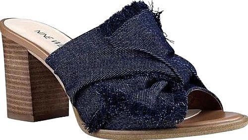 Nine West Shoes - Perfect for transitional weather, the Nine West Byron Mule is an open toe slide with a stacked heel and soft knot detail. Block heel Open toe Synthetic insole Rubber outsole. - #ninewestshoes #navyshoes