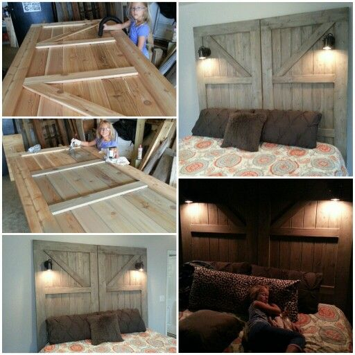 Barn Door Head Board 7 Foot Tall Cedar Doors King Size Bed Headboard With Diy Desk Lamps Installed For Side Lighting