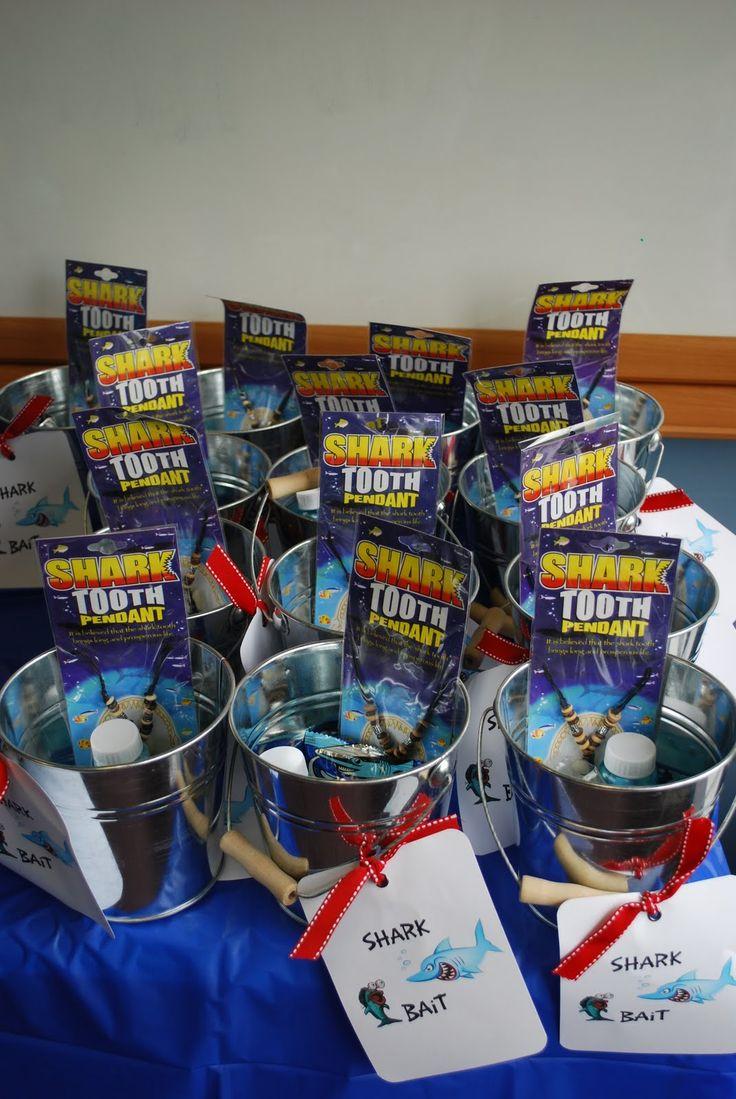 shark party ideas | The favors: shark water squirters, shark bubbles, shark gummies and OF ...