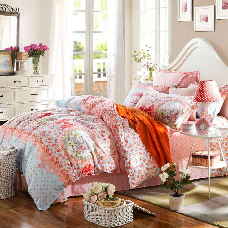 Корейский стиль принцессы цветочный кролики bowknots постельное белье покрывало хлопок пододеяльник набор Королева Двойной размер наборы постельных принадлежностей кровать в мешок