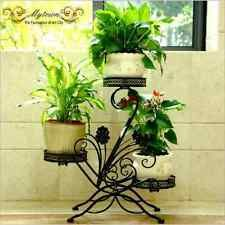 Exterior Interior Olla soporte de la planta Jardín Calidad Metal 3 Niveles Maceta Estantes