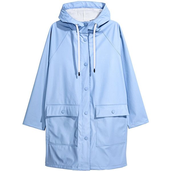 H&M Rain Coat with Hood $34.99 ($35) ❤ liked on Polyvore featuring outerwear, coats, hooded raincoat, hooded rain coat, h&m coats, blue raincoat and blue coat