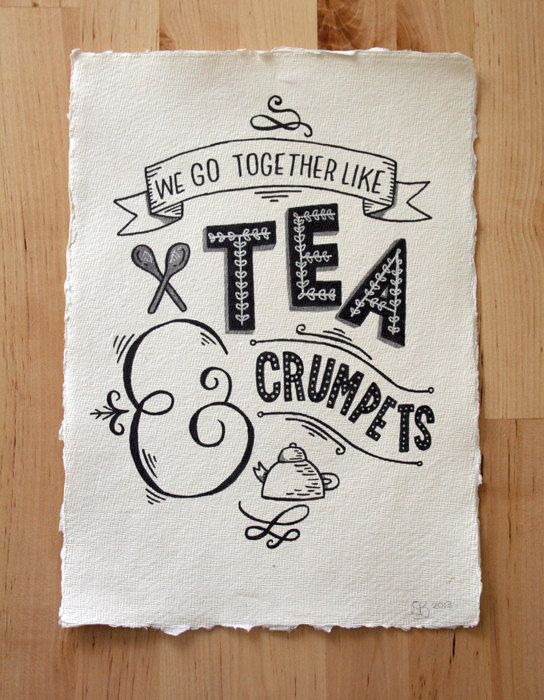 A4 Original Typography Art - 'We go together like Tea & Crumpets' - Hand Lettering / Original Art / Vintage Retro Type / Chalkboard. £28.00, via Etsy.