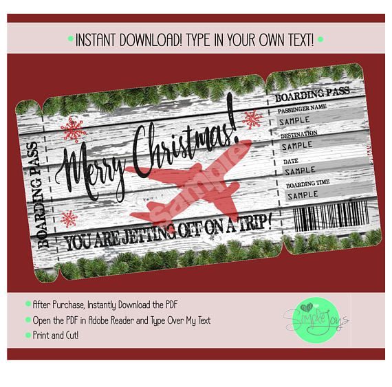 Printable Christmas Vacation Surprise Trip Boarding Pass Ticket