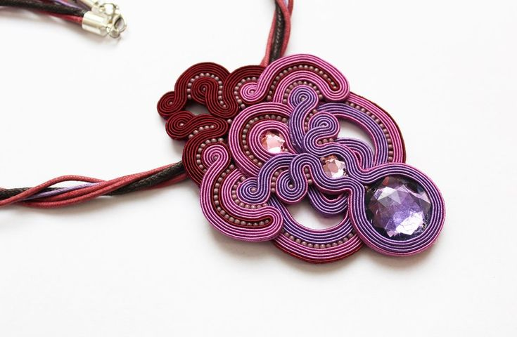 Necklace purple soutache 15.09.2015 by GosiaBizu.deviantart.com on @DeviantArt