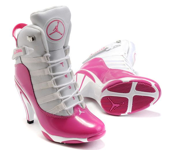 Hot Womens Air Jordan 6 Rings High Heels White Pink Sport