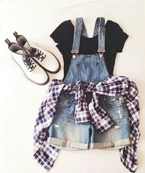 18 Awesome Grunge Outfits Ideas for Women To Try This Season -- Overall shorts with a flannel