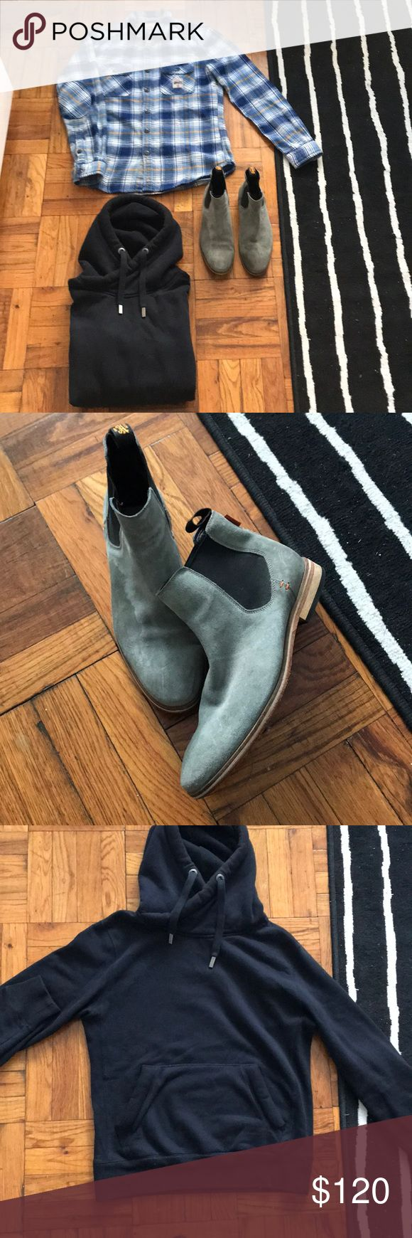 Sueprdry fit combo Superdry Chelsea boots-Size 9 US Worn but they are Suade. Suade cleaner works on them.  Superdry Navy Blue Hoodie Size M Crossover hood detail. Metal string tips detailing.  Superdry wool size M button down. Thick wool quality button down. Superdry Tops Button Down Shirts