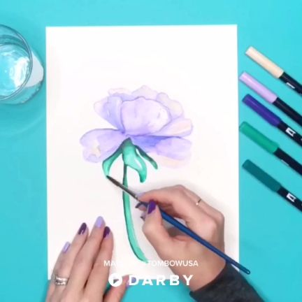 Learn to Watercolor with Tombow Brush Pens #darbysmart #diy #diyprojects #diyideas #diycrafts