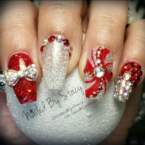 Candy Cane Nails by NailedByStacy from Nail Art Gallery