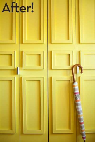 How to give boring closet doors an inexpensive architectural makeover! #DIY