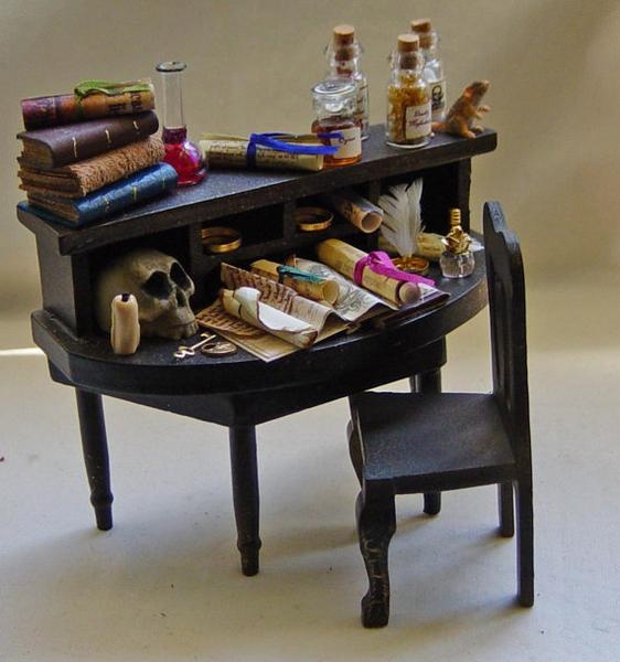 Dolls house Miniature Apothecary / Poisoner / Witch / Wizard Table' on Wish