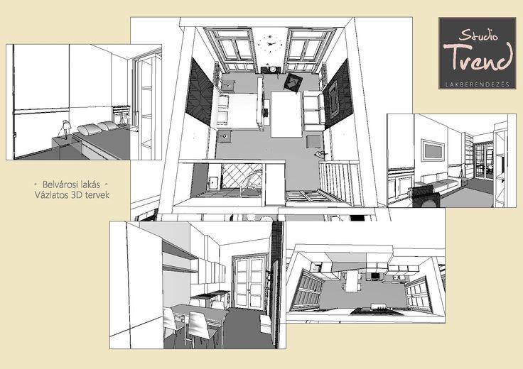 Belvárosi lakás 3D vázlattervei