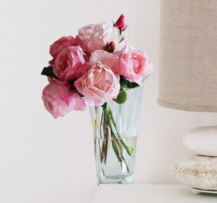 Muursticker bos rozen in vaas  Een mooie muursticker van een glazen vaas met rozen prachtige wanddecoratie op uw huis op te fleuren. Kleurige sticker voor thuis in de badkamer toilet huiskamer slaapkamer of hal. Wilt u uw huis opfleuren zonder constant nieuwe bloemen te moeten kopen en zonder zo'n onhandige vaas te hebben staan. U kunt ook heel eenvoudig een hoge kwaliteit sticker als deze aanbrengen. Doordat de sticker volledig waterbestendig is is de sticker ook erg geschikt voor in de…